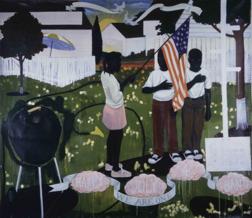 Kerry James Marshall, Bang, 1994, acrylic and collage on canvas, 264 °— 305cm. Courtesy the artist and Jack Shainman Gallery, New York