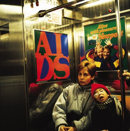 General Idea, AIDS (A Project for the Public Art Fund, Inc.), 1989, 4, 500 posters placed in the New York subway system, one card in every second carriage. Courtesy of the artists.