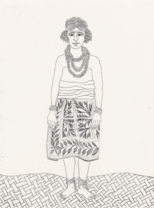 Jennifer Bornstein, Margaret Mead in Authentic Samoan Dress, 2003, copperplate etching, 33 x 23cm. Courtesy of the artist.