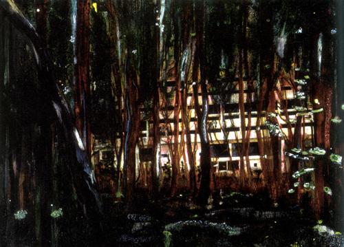 Peter Doig, Cabin Essence, Oil on canvas, 229 x 339 cm, 1994. Courtesy of the artist and Victoria Miro.