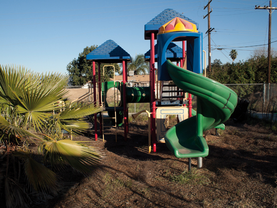 Playground at the church Rancho Cucamonga. Photograph: Lisa Anne Auerbach and Robby Herbst. Courtesy the artists