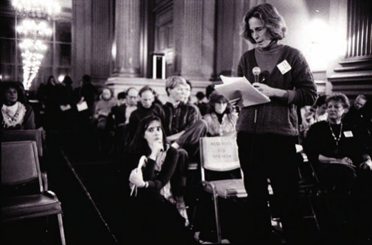 Image from Suzanne Lacy, 'Mapping the Terrain' public conference, November 1991, Napa, CA, showing Patricia Phillips. Courtesy the artist