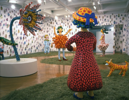 Yayoi Kusama, Hi, Konnichiwa (Hello!), 2004, mixed media, installation view. Courtesy of Yayoi Kusama Studio