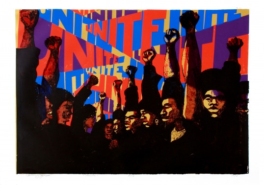 Barbara Jones-Hogu, Unite, 1970, screenprint, 80.6 × 57.2cm, Collection of the South Side Community Art Center, Chicago. Courtesy the artist