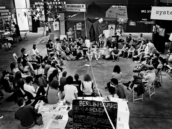 Occupy Berlin in the Kunst Werke, Berlin Biennial, 2012. Photograph: © Marcin Kalinski. Courtesy Berlin Biennial