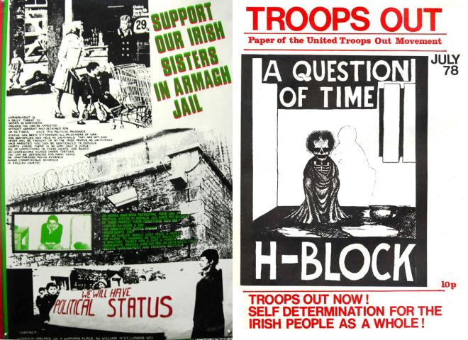 Left: Poster by See Red (c.1981). Right: Printed by Community Press (1978)