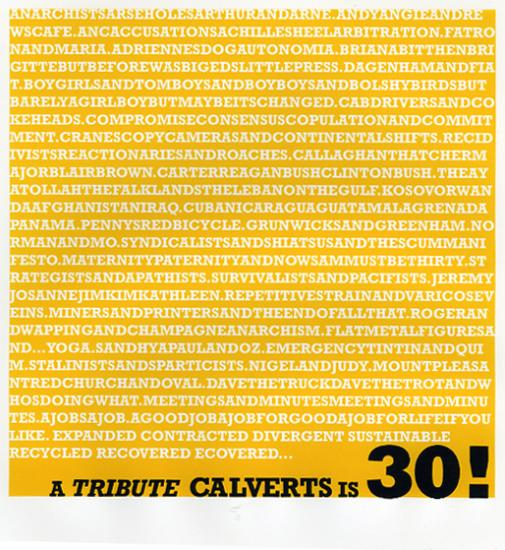 Poster made for Calverts (2007) to mark their 30th year