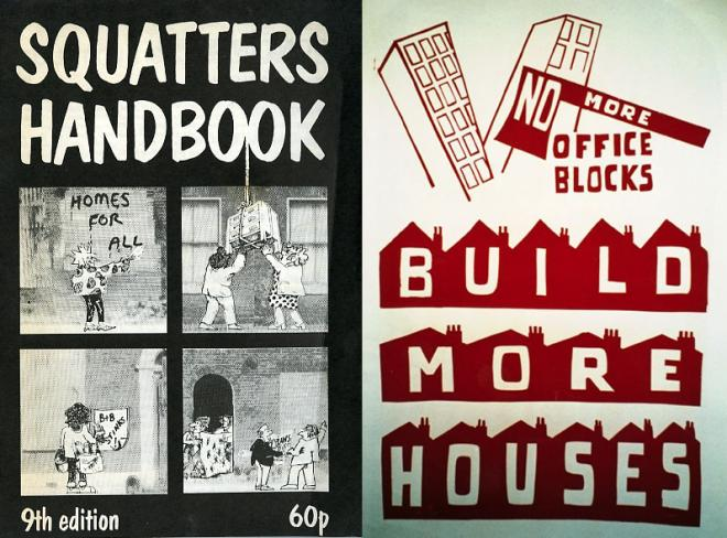 Left: Pamphlet printed by Blackrose Press (1987). Published by Advisory Service to Squatters. Right: Poster by Poster Workshop (c.1968–70)