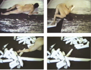Still from Pia Arke's Arktisk hysteri (Arctic Hysteria), 1996, video.
