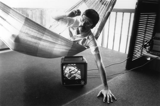 1977-Juan_on_hammock_with_tv_below_PhotoScan--Venezuela_LR